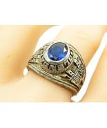 925 Sterling Silver - Vintage Blue Topaz Glendale 1992 Class Ring Sz 10 ... - $56.62