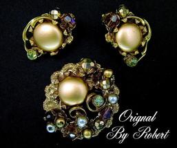 Vintage Brooch Earrings Set Original By Robert, AB Glass Beads & Faux Pe... - $124.95