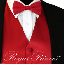 Fire Red Solid Tuxedo Suit Vest Waistcoat And Straght Cut Bow Tie Wedding Party - $18.79+