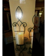 KIRKLAND'S SET OF 2 BLACKSTONE WALL SCONCES CRACKLE GLASS SHADES METAL CLEAR NIB - $39.55