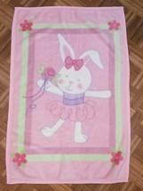 Vintage Baby Blanket Ballerina Bunny Rabbit Pink Girl 30x46 Large Fleece... - $50.26 CAD