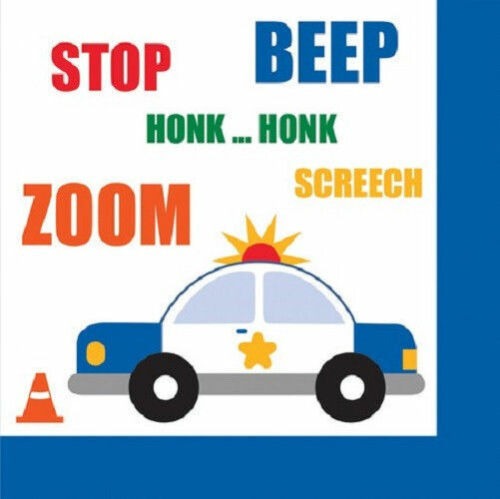 Traffic Jam Birthday Party Beverage Napkins Small 16 ct Police Car