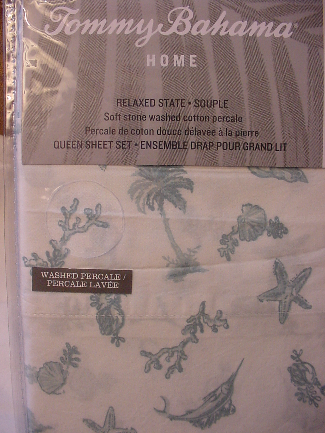 Tommy Bahama Sealife Paradise Aqua Blue on White Sheet Set Queen