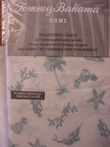 Tommy Bahama Sealife Paradise Aqua Blue on White Sheet Set Queen - $90.00