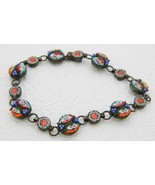 Vintage Italy Silver Toned Filigree Micro Mosaic Floral Glass Bracelet -... - $123.75
