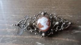 Vintage Danecraft Sterling Silver Cameo Brooch 5.2cm - $27.71