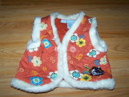 Size 24 Months Disney Minnie Mouse Fall Autumn Winter Vest w Faux Fur Orange EUC - $15.00