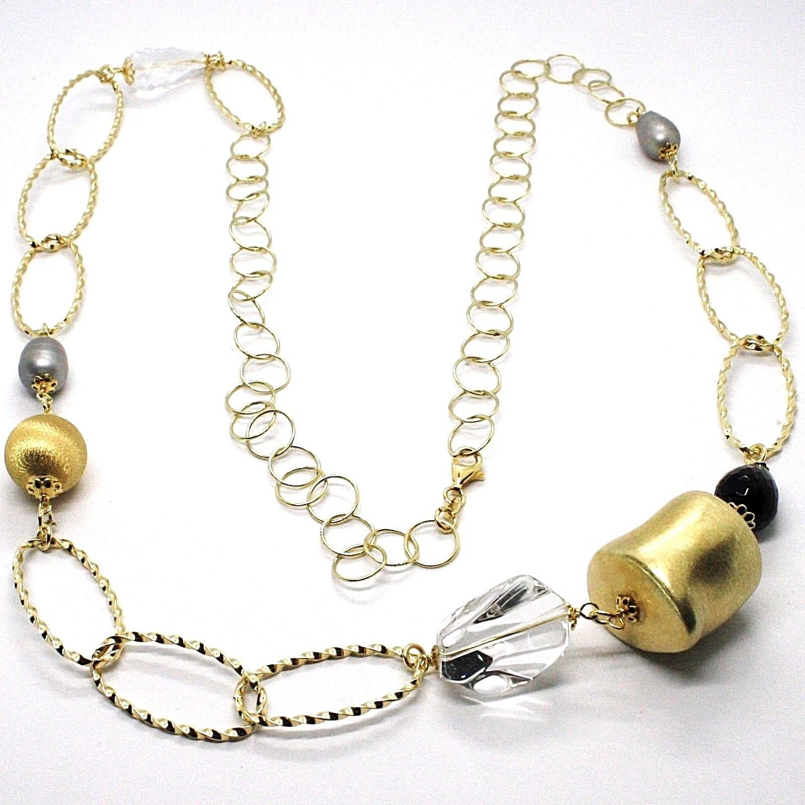 Silver necklace 925, Yellow, ONYX, GRAY PEARLS, Oval Braided, 95 cm