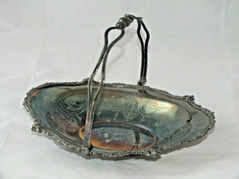 """Antique Silver Plate Brides Basket with Handle Footed Ribbon Edge 12x9x3"""" - $39.88"""