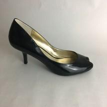 Nine West Pumps Black Patent Leather Peep Toe Women's 8 - $28.04