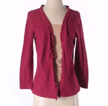 Talbots Womens Small Dark Pink Hook Front Ruffle Cardigan Sweater - $12.61