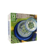 Melamine 12 Piece Dinnerware Set Blue & Green - Suitable Indoors and Out... - $45.07