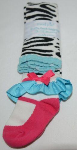 Mudpie Ruffle Socks Leggings Zebra Stripes 12 to 18 months