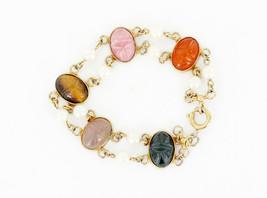 Antique Deco 12K Gold Filled Fresh Water Pearls MultiGemstone Scarab Bra... - $107.99