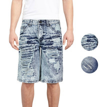Brooklyn Xpress Men's Relaxed Fit Ripped Distressed Destroyed Jean Denim Shorts image 1