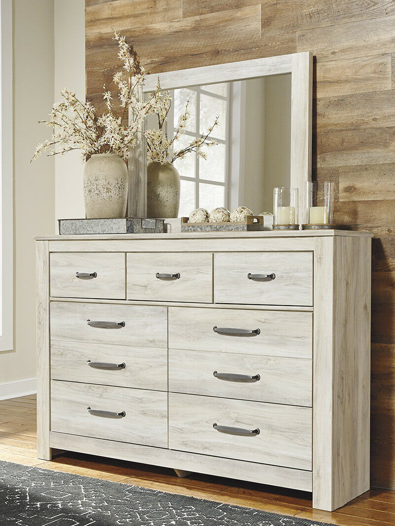 New Rustic Off White Finish Bedroom Furniture 5pcs King