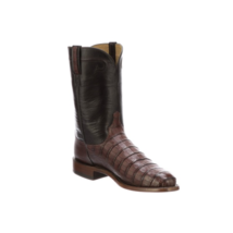 Handmade Men's Brown Crocodile Print Leather Cowboy Mexican Western Taxes Boots