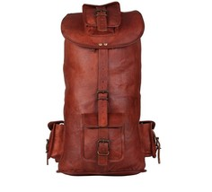 Leather Unisex Vintage Backpack Retro Genuine Rucksack, One size - $59.85