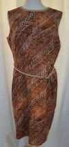 ANNE KLEIN Jungle Print Belted Sleeveless Sheath Dress Fully Lined Sz 16 - $48.99