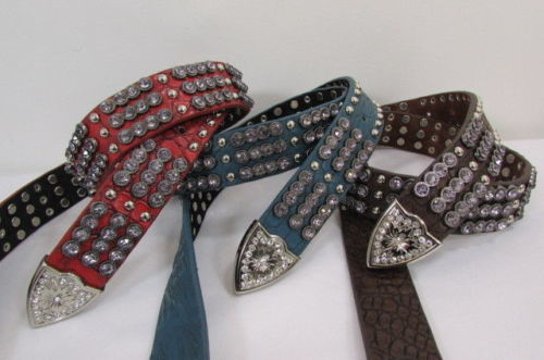 Neu Damen Braun Rot Blau Echtleder West Modischer Gürtel Kristallen