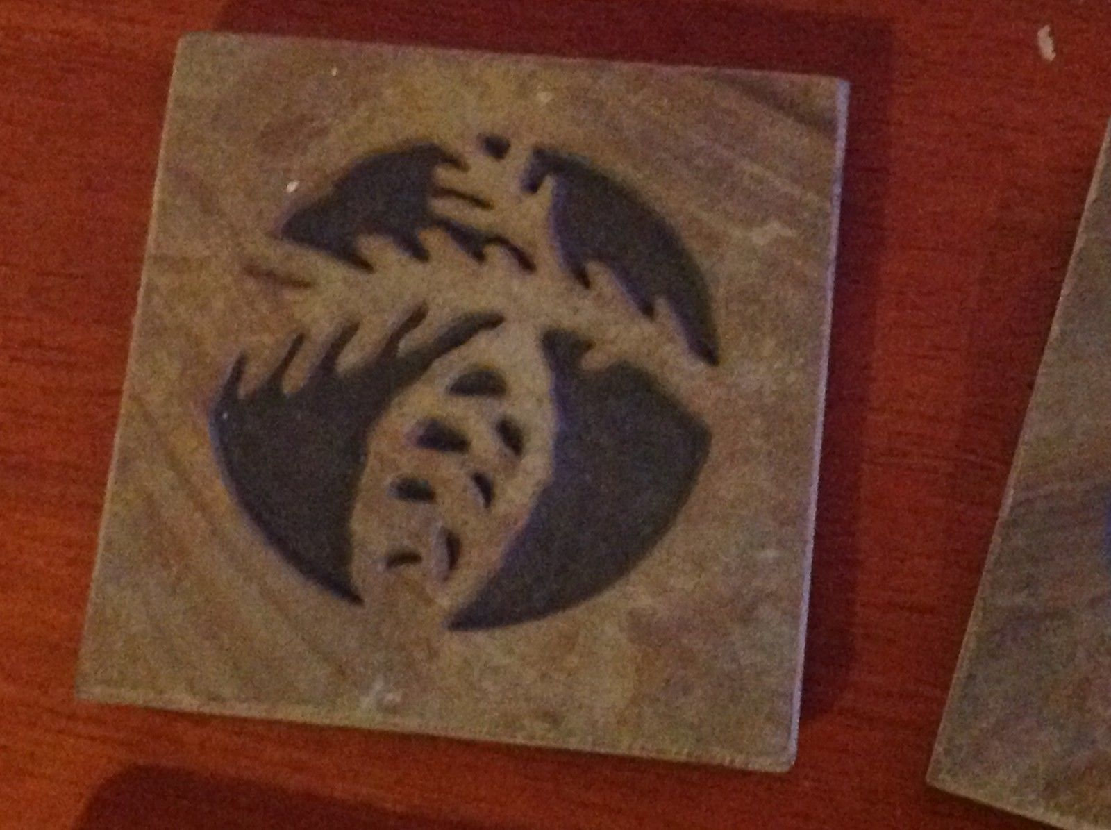 "Made in USA slate tile coaster engraved with pine cone  4"" square felt feet"