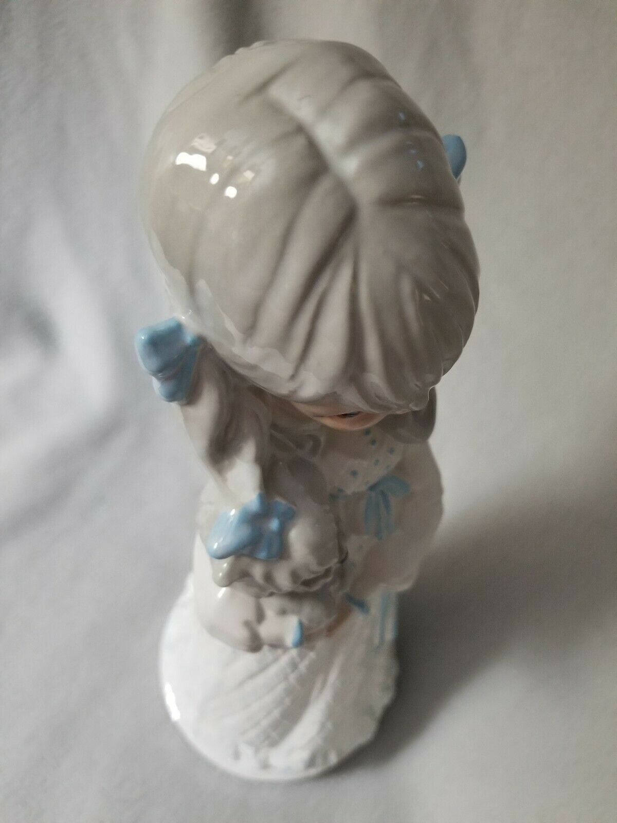 Tall Ceramic Prarie Girl Dog Yorkie Puppy Brown Eyed Victorian Dress Blue