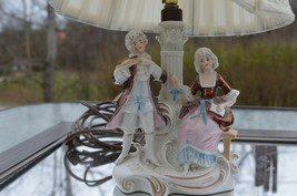 Germany DEP Porcelain Figural Lamp Man Woman Couple Victorian - $37.36