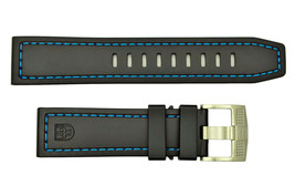 Luminox watch band strap Coronado 3023 23mm black Nitrile Rubber/blue St... - $68.00