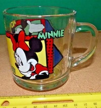 Clear Glass Disney Mug Coffee Cup Mickey and Minnie Anchor Hocking Free Shipping - $12.38