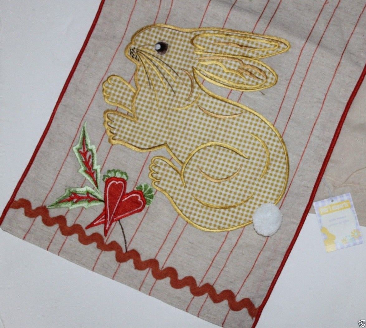 Primary image for Pier 1 Imports NWT Mixed Materials Easter Bunny Table Runner 13 x 72