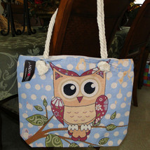 Womens Owl Cream & Blue Lg/XL Canvas Tote Rope Handles NWT image 2