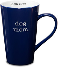 "Dog Mom Large Coffee Cup Mug Blue Stoneware 18 oz New 5.5"" High - $15.83"