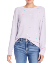 NEW Wildfox M Medium Stars Round Neck Long Sleeve Pullover Shirt Purple $98 - $28.83