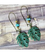 Blue & Brass Leaf Boho Earrings Beaded Dangle Festival Bohemian Fashion ... - $11.99