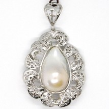Silver Pendant 925, Pearl Baroque with Frame, Flower, Made in Italy image 1