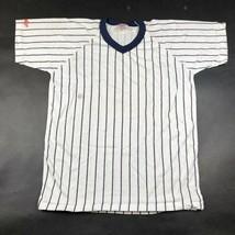 Vintage Rawlings Leeres T-Shirt M Weiß Marineblau Nadelstreifen USA - $7.69