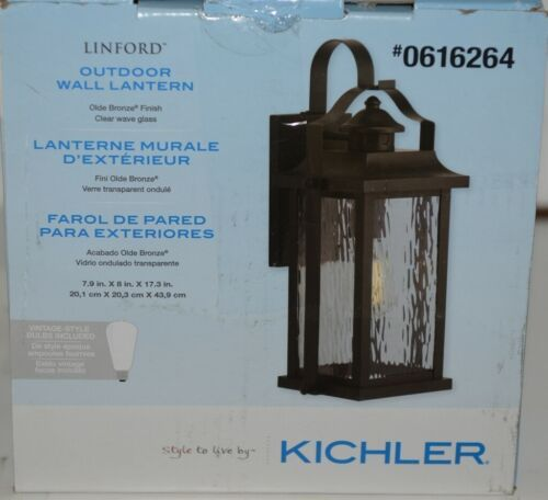 Kichler 0616264 Linford Outdoor Wall Lantern Olde Bronze Finish Clear Wave Glass