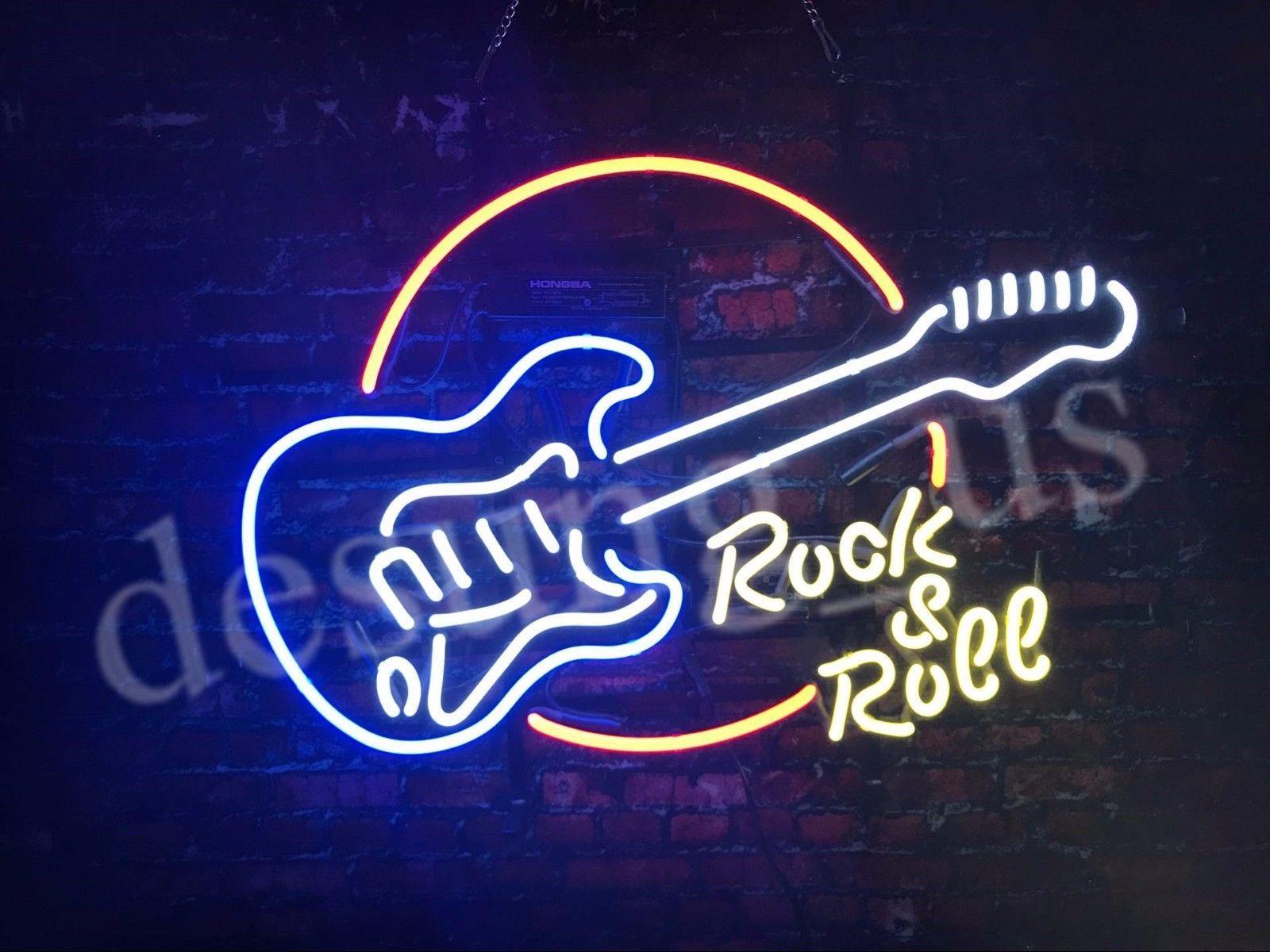 "New Rock Roll Guitar Live Music Bar Beer Neon Sign 24""x20"""