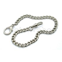 "Silver Plate Link Pocket Watch Fob Chain 11"" Lobster Clasp Men Accessory... - $13.04"