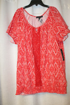 NEW FRENCH LAUNDRY WOMENS PLUS SIZE 3X BRITE ORANGE SMOCKED BOTTOM SHIRT... - $15.67