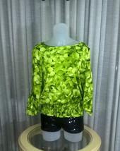 Michael Kors Silky Green Floral Blouse Hydrangea Print roll tab sleeve M Smocked - $15.83