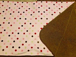 Just Born Pink Polka Dot Brown Sherpa Baby Blanket Lovey Red Green Circles - $22.28