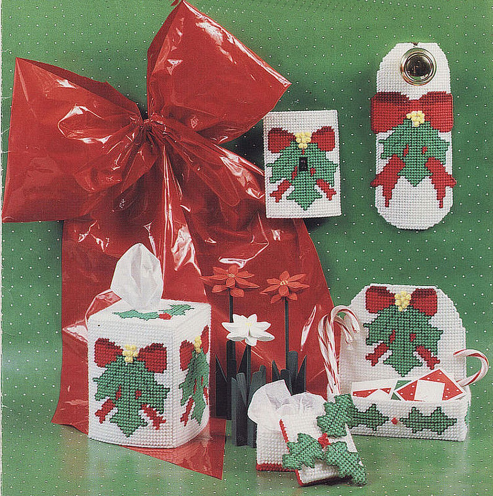 Primary image for Plastic Canvas Holly Christmas Door Knob Tissue Cover Gift Box Switch Pattern
