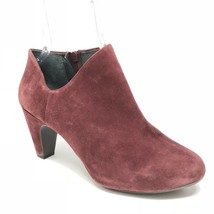 Easy Spirit Ankle Heel Booties Burgundy Leather Suede Closed Toe Size 9 M - $38.66 CAD