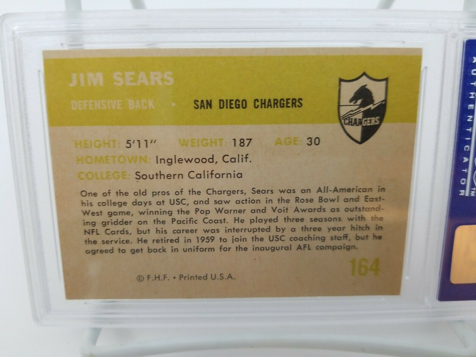 1961 Fleer Football Jim Sears #164 PSA 8 NM-MT 8 San Diego Chargers Card image 6