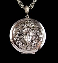Large Art Nouveau Locket - Vintage Whiting and Davis necklace - Mucha go... - $125.00