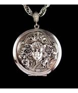 Large Art Nouveau Locket - Vintage Whiting and Davis necklace - Mucha go... - $125.00