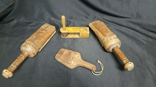 """Antique Primitive Lot 4 Wood Noise Maker Clapper Fire Alarm Wooden Clicker 16.5"""""""
