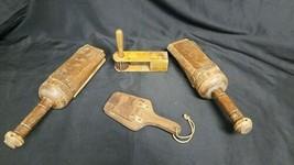 """Antique Primitive Lot 4 Wood Noise Maker Clapper Fire Alarm Wooden Clicker 16.5"""" image 1"""