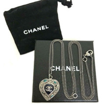 Auth Chanel Versilbert cc Logos Charm Kette Herz Halskette Anhänger CN0131 - $775.47